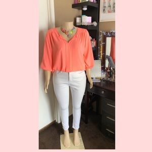 Plus size neon orange 3/4 sleeve summer blouse